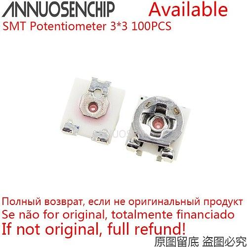 SMD Trimmer Resistor 3*3 100K EVM3ESX50B15 50K EVM3ESX50B54 20K EVM3ESX50B24 3x3 Adjustable Potentiometer 100PCS