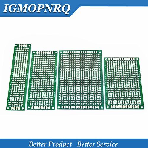 4pcs 5x7 4x6 3x7 2x8 cm Green/Blue 5*7 4*6 3*7 2*8 double Side Copper prototype pcb Universal Board Cave plate Circuit board