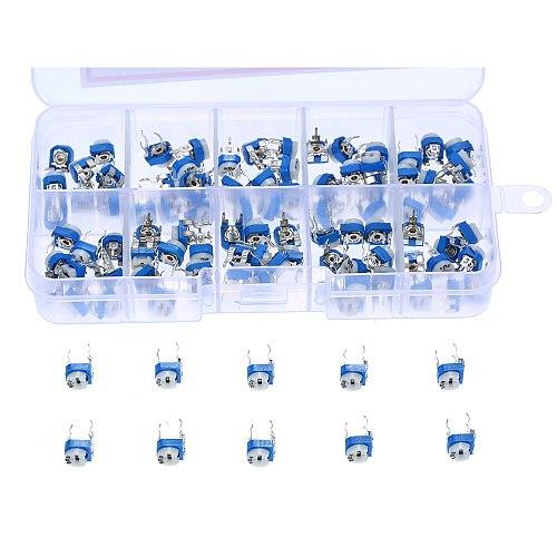 100pcs Variable Resistor 6mm Potentiometer RM065 Preset Carbon Film Horizontal Trimmer Potentiometer Resistor Assortment Kit