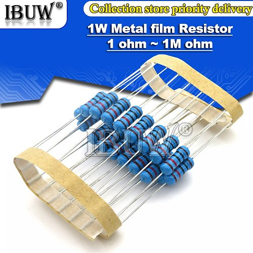 20pcs 1W Metal film resistor 1% 1R ~ 1M 2R 10R 22R 47R 100R 330R 1K 4.7K 10K 22K 47K 100K 330K  470K 1 2 10 22 47 100 330 ohm
