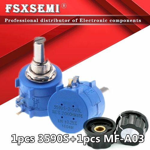 3590S-2 3590S 3590 Precision Multiturn Potentiometer 10 Ring Adjustable Resistor + 1pcs MF-A03 knob  500 1K 2K 5K 10K 20K 50K