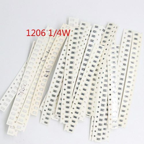 1206 0805 0603 SMD Resistor Kit Assorted Kit 1ohm-1M ohm 1% 33valuesX 20pcs=660pcs 1/4W 1/8W 1/10W Resistor Kit