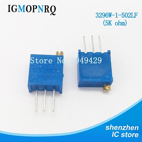 10Pcs/lot 3296W-1-502LF 3296W 502 5k ohm Top regulation Multiturn Trimmer Potentiometer High Precision Variable Resistor
