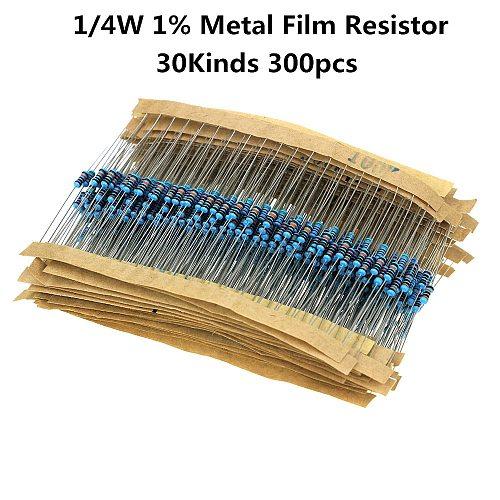 300PCS/LOT 1/4W Metal Film Resistor Kit 1% Resistor Assorted Kit Set 10 -1M Ohm Resistance Pack 30 Values each 10 pcs