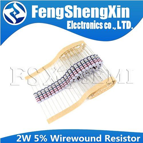 20pcs 2W 5% Wirewound Resistor Fuse 0.05R 0.1R 0.15R 1R 2.2R 4.7R 5.1R 10R 20R 22R 47R 51R 100R