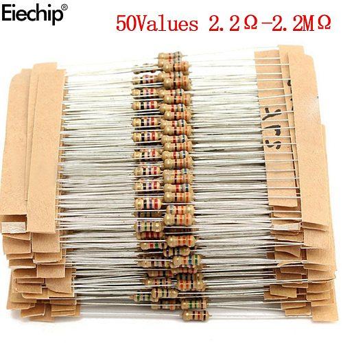 1000pcs/lot 1/4W resistors assorted kit 0.25W Carbon Film resistance set  2.2 ohm -2.2 M  Assortment resistor 2.2 ohm 100 ohm