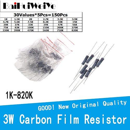 150PCS/LOT 3W 5% Carbon Film Resistanc Kit 30Values*5Pcs 1K To 820K ohm Resistanc Set 3.3K 4.7K 5.6K 330K 470K 560K 750K 47K
