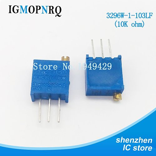 10Pcs/lot 3296W-1-103LF 3296W 103 10K ohm Top regulation Multiturn Trimmer Potentiometer High Precision Variable Resistor