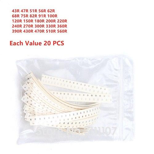500PCS 0805 SMD Resistor Kit Resistance 43R-560R 5% 25Kinds*20pcs Total 500pcs 43 Ohm-560 Ohm Chip Resistors