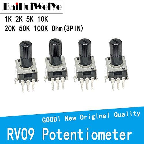 10PCS/LOT RV09 Vertical 12.5mm Shaft 1K 2K 5K 10K 20K 50K 100K 0932 Adjustable Resistor 9 Type 3Pin Seal Rotary Potentiometer