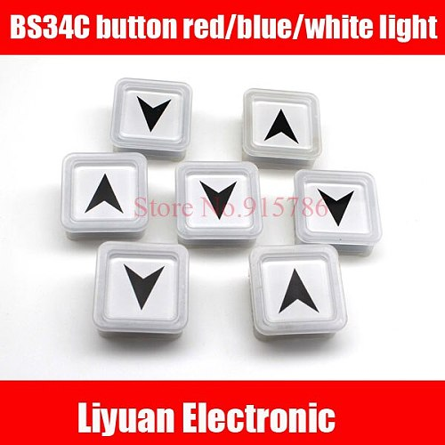 2pcs 32.5mm*32.5 mm elevator button /BS34C button square button red blue white light DC24V-30V