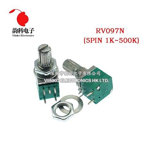 50pcs RV097NS 1K 5K 10K 20K 50K 100K 500K with a switch audio 5pin shaft 15mm amplifier sealing potentiometer