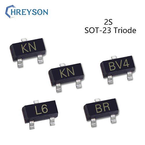 50Pcs SMD NPN Power Transistor Triode 2SB624 BV4 2SC945 CR 2SA1037 FR 2SA812 M6 2SC1623 L6 2SC2412 BR 2SC1815 HF SOT-23 IC