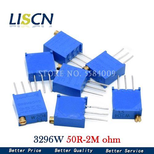 10pcs 3296W 3296 50 100 200 500 ohm 1K 2K 5K 10K 20K 50K 100K 200K 500K 1M ohm 103 100R 200R 500R Trimpot Trimmer Potentiometer