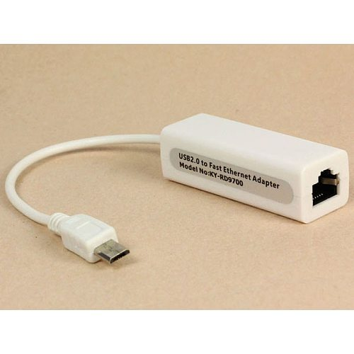Micro 5pin USB To RJ45 10/100M Ethernet Lan Card for SamsungTable PC Support Full Duplex Flow Control White 15 cm