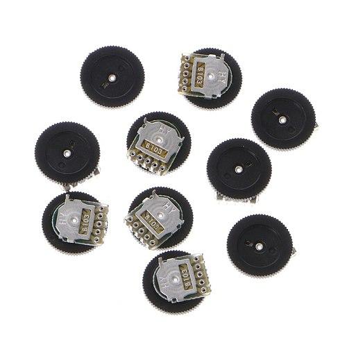 10 Pcs B103 16x2mm 10K Ohm Double Dial Taper Volume Wheel Duplex Potentiometer #Aug.26