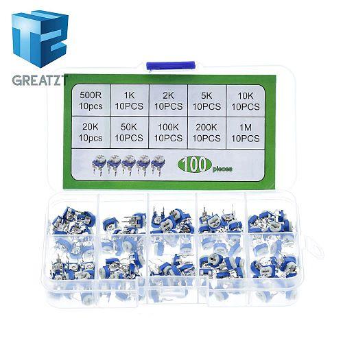 GREATZT 100Pcs/Box RM065 Carbon Film Horizontal Trimpot Potentiometer Assortment Kit 10 Values Variable Resistor 500R - 1M