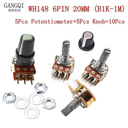 5pcs/Lot Carbon Film Potentiometer WH148 20mm 6pin + Rotary Switch Knobs Cap Kit B1K 2K 5K 10K 20K 50K 100K 250K 500K 1M