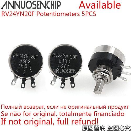 5PCS RV24YN20F B102 B202 B502 B103 B503 B104 B504 RV24YN 2W Rotary Carbon Film Potentiometer 10K 100K 2K 5K 20K 50K 500K 1K