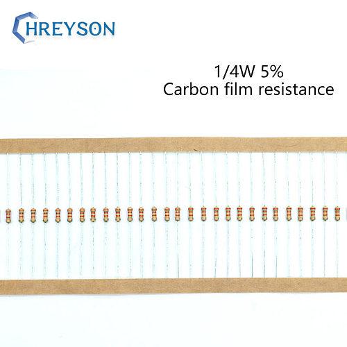 100Pcs 1/4W Carbon Film Set Of Resistor 0R-22M 5% Tolerance 390R 560R 1K 3K 6.8K 7.5K 16K 150K 270K 10 Ohm Electronic Resistance