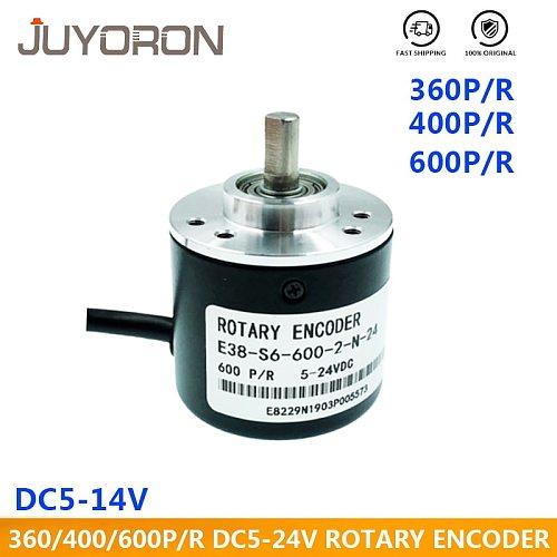 Incremental Rotary Encoder 5-24V DC E38 S6 Encoder 360/400/600 P/R Photoelectric Incremental Rotary AB Two Phases 6mm Shaft