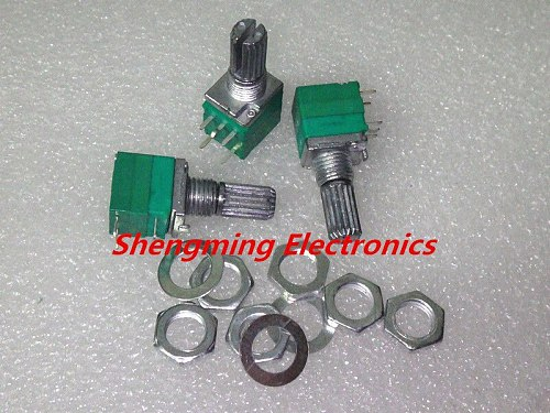 10pcs B5K B10K B20K B50K B100K Audio Amplifier Sealed Potentiometer 15mm Shaft 5pins with switch RV097NS