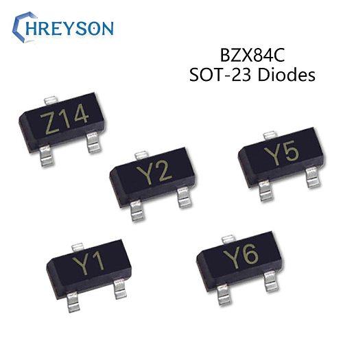 50Pcs SMD Zener Diode 2.4V-39V BZX84C5V1 Z2 BZX84C6V2 Z4 BZX84C6V8 Z5 BZX84C9V1 Z8 BZX84C11 Y1 BZX84C16 Y5 BZX84C39 Y14 SOT-23