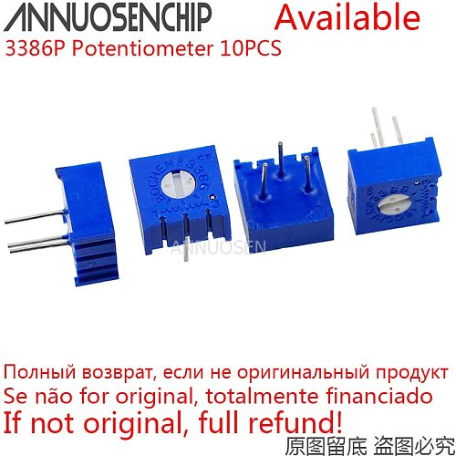 10PCS 3386P Potentiometer Precision Adjustable Resistance 1K 2K 5K 10K 20K 50K 100K 200K 500K 1M  100 200 500 Ohm R 101 103 101