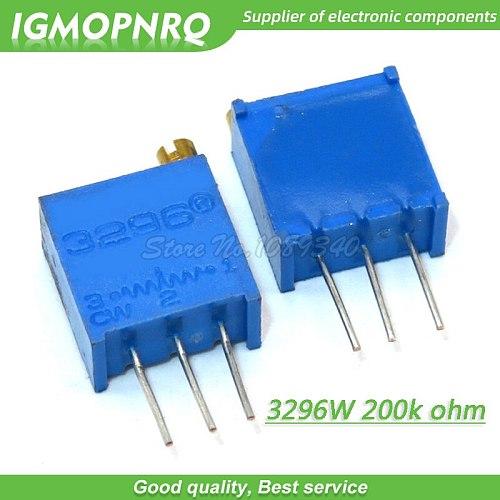 100Pcs/lot 3296W-1-204LF 3296W 204 200k ohm Top regulation  Multiturn Variable Resistor Trimmer Potentiometer High Precision