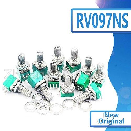 5pcs RV097NS 5K 10K 20K 50K 100K 500K with a switch audio 5pin shaft 15mm amplifier sealing potentiometer