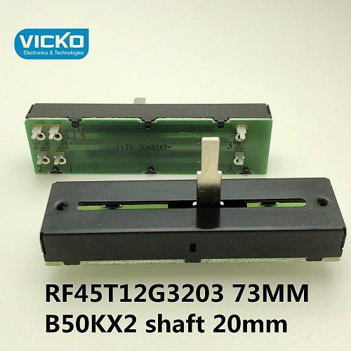 [VK] FD RF45T12G3203 73mm trip 45mm 50KBX2 straight slide rail type mixer sliding potentiometer B50K*2 B50KX2 switch shalf 20mm