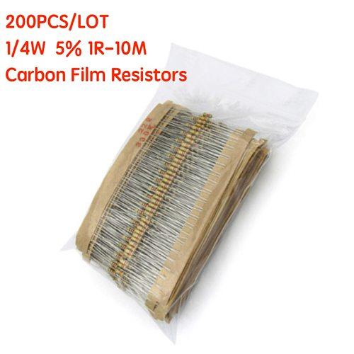 200PCS 1/4W Carbon Film Resistors 5% 1R-10M 10R 47R  56R 100R 220R 1K 4K7  6K8 100K 330K 560K 1M  ohm Color Ring Resistance