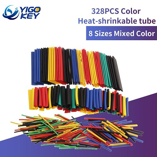 328Pcs Assorted Polyolefin Heat Shrink Tubing Tube Cable Sleeves Wrap Wire Set 8 Size Multicolor