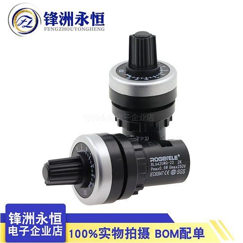TZT LA42DWQ-22 1K 2K 5K 10K 22mm Diameter Pots Rotary Potentiometer Converter Governor Inverter Resistance Switch for arduino