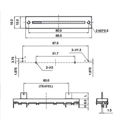 88mm SC-609N B10K Single potentiometer B10K fader handle length 15MM