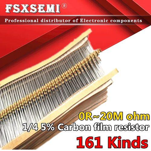 100pcs 1/4W Carbon Film Resistors 5% 0R~20M 1R 10M 10R 47R 100R 220R 1K 10K 4K7 100K 560K 1M 3M3 ohm Color Ring Resistance