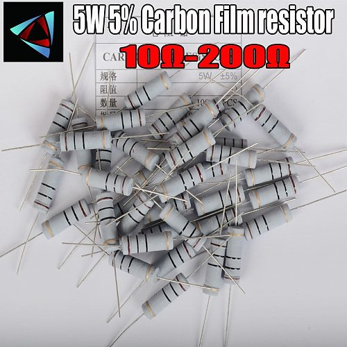 5pcs 5W 5% Carbon Film resistor 1R ~ 1M 10 12 15 18 20 22 24 27 30 33 36 39 43 47 51 56 62 68 75 82 91 100 120 150 180 200 ohm