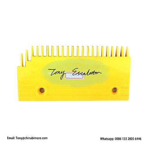FUJITEC Escalator 0129CAE001 Comb L202.9mm W100mm Hole Space 135.8mm Left 22Teeth Yellow Plastic