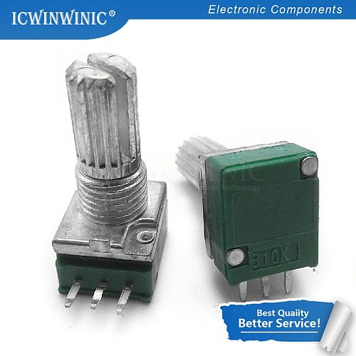 50piece RK097N B5K B10K B20K B50K B100K B500K B5K with a switch audio 3pin shaft 15mm  amplifier sealing potentiometer