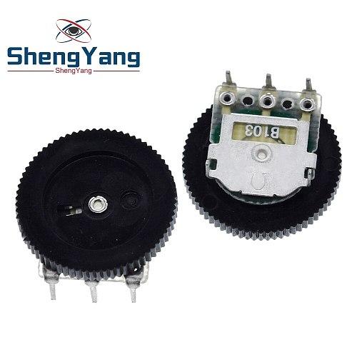 ShengYang 10 Pcs B103 16x2mm 10K Ohm Double Dial Taper Volume Wheel Duplex Potentiometer Z07 Drop ship