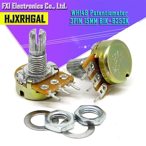 100pcs WH148 B1K B2K B5K B10K B20K B50K B100K B500K 3Pin 15mm Shaft Amplifier Dual Stereo Potentiometer 1K 2K 5K 10K 50K 100K