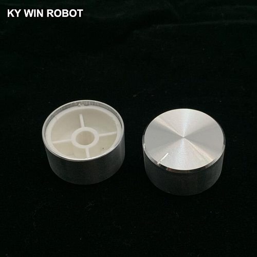1 pcs 25x13mm 6mm Shaft Hole Aluminum Alloy Potentiometer Knob White