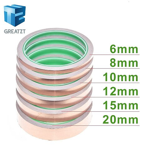 GREATZT 10m 6-20mm Adhesive Tape Foil Tape Adhesive Conductive Copper Shield Eliminate EMI Anti-static Single-sided Repair Tape