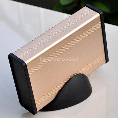 Aluminum Project Box Enclousure Case with Base, Gold, 3.78  x 1.3  x 5.51