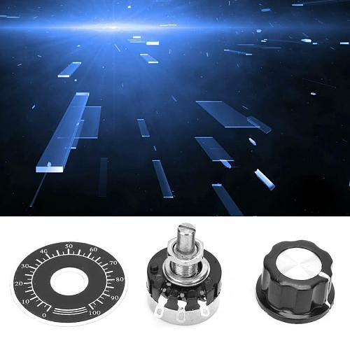 Potentiometer Scale Plate RV24YN20S Potentiometer Knob Scale Set Carbon Film Potentiometer + Dial Scale Plate + Knob 100K