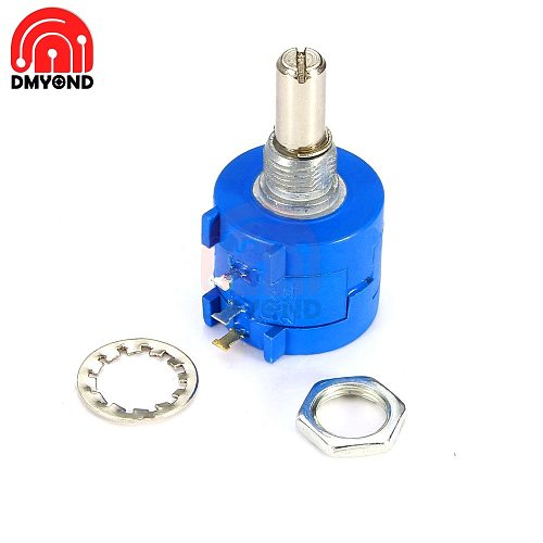 3590S-2-103L Potentiometer 10K ohm Precision Multiturn Potentiometer 10 Ring Adjustable Resistor 3590S 500 with Nuts Washers