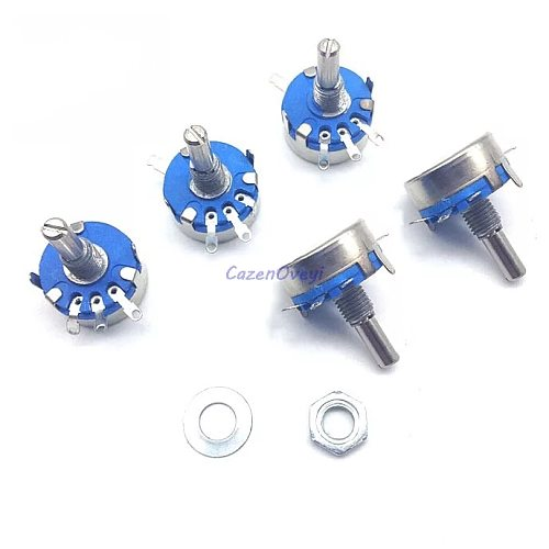 2pcs/lot WH5-1A 100k ohm 3-Terminals Round Shaft Rotary Taper Carbon Potentiometer