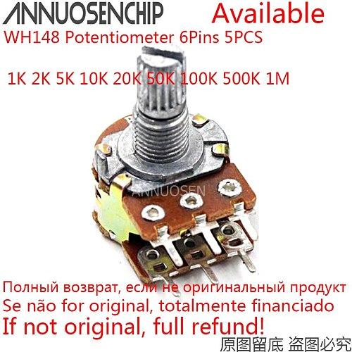 5pcs B1K B2K B5K B10K B20K B50K B100K B500K B1M 6Pins Shaft WH148 Potentiometer 1K 2K 5K 10K 20K 50K 100K 500K 1M