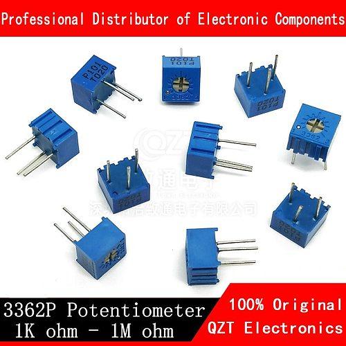 10pcs 3362P series resistance 101 201 501 102 202 502 103 105 Trimpo Trimmer Potentiometer 3362 500R 1K 2K 5K 10K 20K 50K 100K