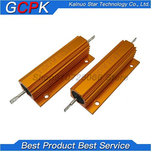 RX24 100W Aluminum Power Metal Shell Case Wirewound Resistor 0.01 ~ 100K 0.1 0.5 1 1.5 2 6 8 10 20 100 150 200 300 1K 10K ohm